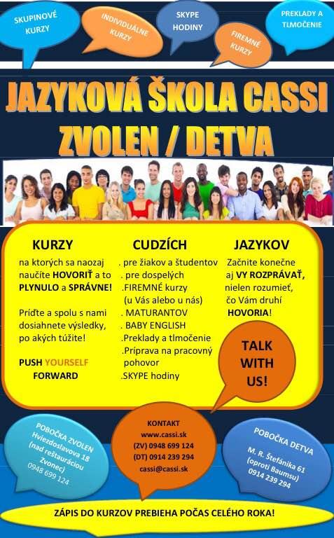 Jazyková škola CASSI vo Zvolene a v Detve!!!  93a576e3ca4